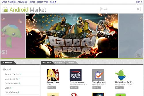 webstore Android Market disponible sur le web
